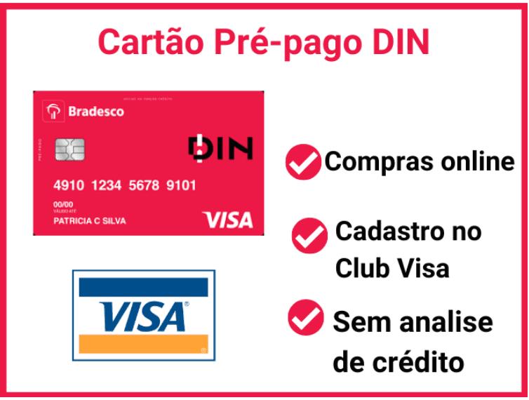 Cartão pré-pago internacional DIN